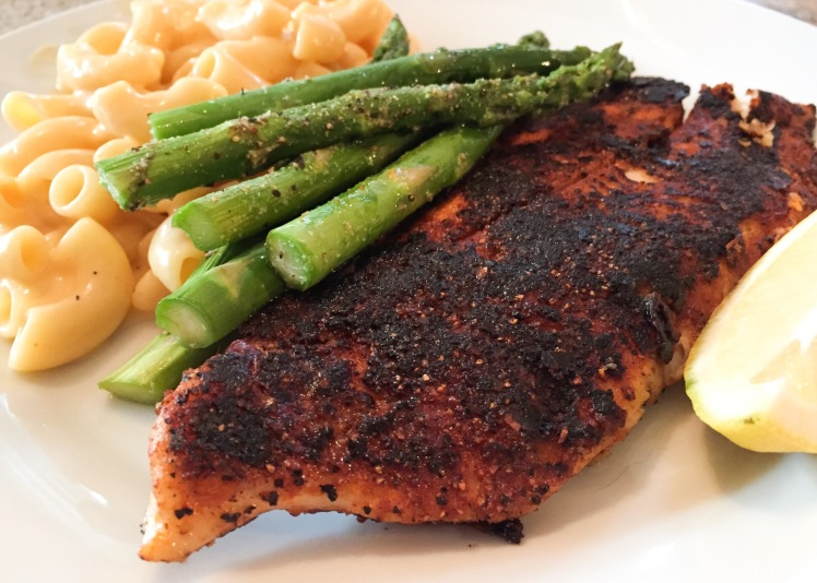 Blackened Catfish, Mac & Cheese and Asparagus